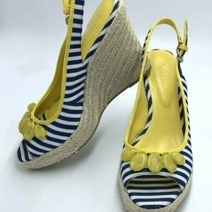 Boden Navy Stripe Yellow Bead Espadrille Heels